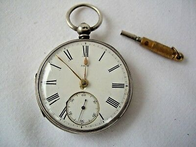 Early Excellent Condition, Antique Solid Silver Fusee Pocket Watch