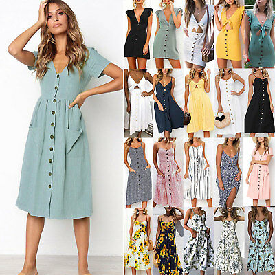Women Holiday Button Midi Dress Party Evening Summer Casual Sundress Plus Size