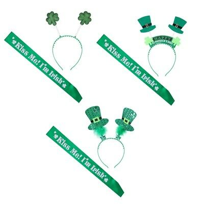 St Patrick's Day Green Shamrock  Dress Women Girls Headband Sash Party Prop