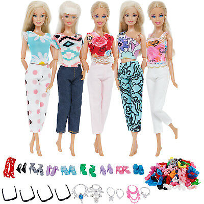 25Pcs=5 Handmade Outfits+10 Shoes + 6 Necklace+4 Glasses Clothes For 12 in. Doll