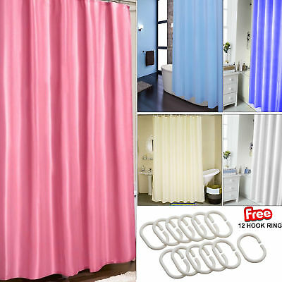 Bathroom Plain Shower Fabric Curtain With 12 Hooks Rings Extra Resistant