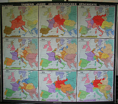 Schulwandkarte Beautiful Old Abendland Europakarte 192x164 Vintage Map~1953