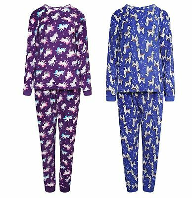 Childrens All Over Print Full Fleece Pyjama Set ~ Unicorns or Llamas ~ 7-13 Year