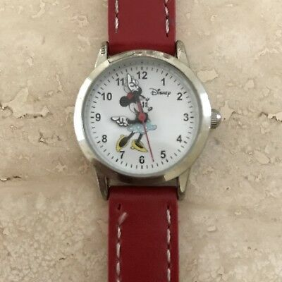 Disney Ladies MN1023 Minnie Mouse Watch W/ Red Band A+ Condition New Battery
