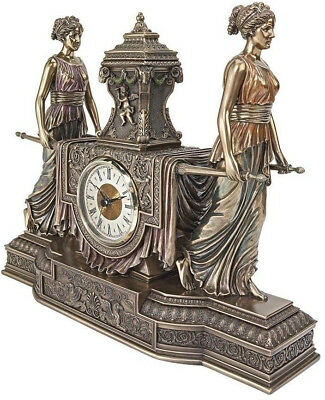 Victorian French Maidens Mantel Clock Roman Numerals Antique Replica Sculpture