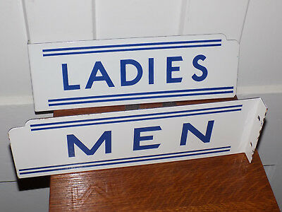 Pair of Deco Porcelain Men and Ladies Room Double Sided Flange Signs