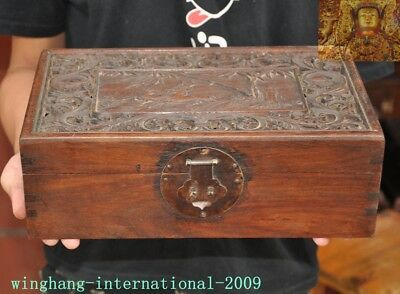 Chinese Huanghuali wood carved bamboo flower Sika deer statue Jewelry Box boxes