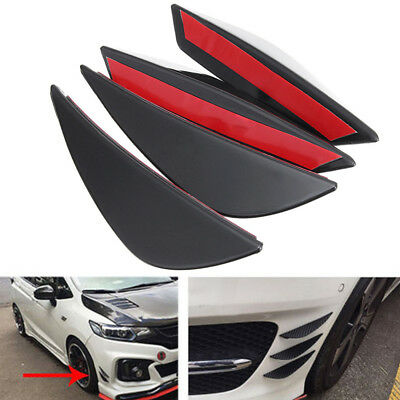 4X Universal For Front Bumper Lip Splitter Fins Body Spoiler Canard Valence Chin