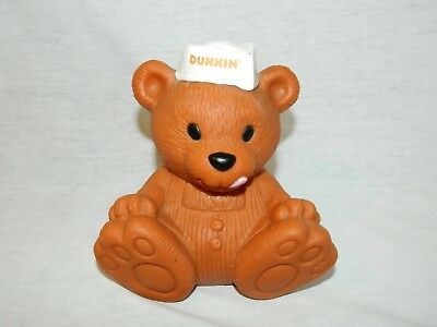 """DUNKIN Donuts Bear Bank Advertising Promo 5"""" Plastic VTG Collectable 1993"""