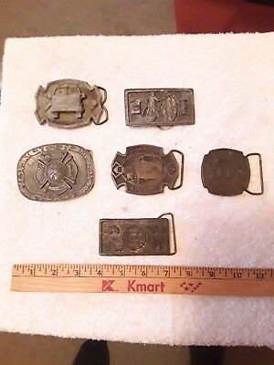 Vintage Metal Brass Fireman Belt Buckles Lot