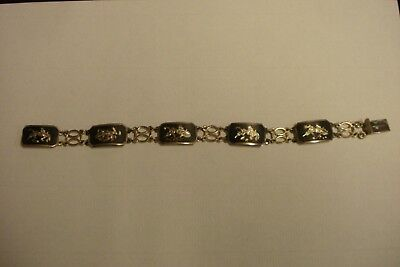 "Antique Siam Sterling Silver 8"" Inch Nielloware Bracelet .925"