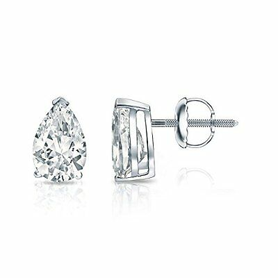 3CT C & Forever One Forme de Poire Moissanite 14K or Blanc Boucles D'Oreilles