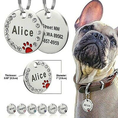 FREE ENGRAVING Dog ID / Cat ID Name Bling Tag Personalised Puppy Pet ID Tags