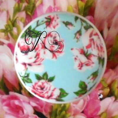 FRENCH words Ceramic Knob Roses Florals cabinet Drawer Pull script Desk office