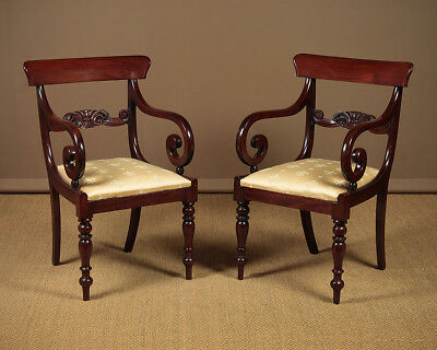 Antique Pair of William IV Scroll Arm Open Armchairs c.1830.