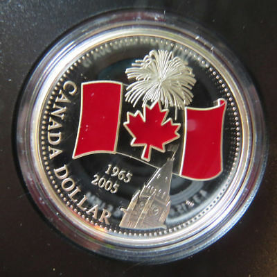 2005 40th Anniversary of the Flag Limited Edition Proof Silver Dollar - Enameled