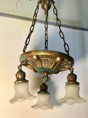 Antique, Ornate, Brass, Victorian, 3 Arm Fixture,  (stock #101)