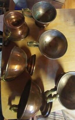 "12 VTG COPPER MUGS CUPS~ornate BRASS HANDLED FOOTED~3 1/2""~"