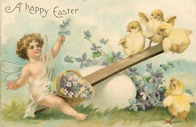 Clapsaddle Easter~Lil Angel~Sheer Wngs~Teeter Totter On Egg~Chicks~Emb~Germany
