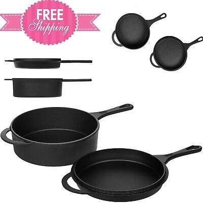 Pre-Seasoned Cast Iron Skillet and Dutch Oven Set - NEW - Great Easy to Clean