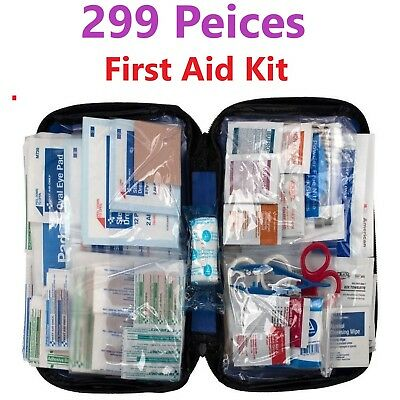 299 pc First Aid Kit Emergency Bag Home Car School Outdoor Guide Soft Case NEW