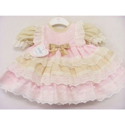 Kinder Baby Girl Traditional Romany Spanish Style Frilly Pink & Beige Bow Dress
