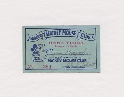 RARE Vintage 1930's Mickey Mouse Club Member Card, Lompoc Theatre, California