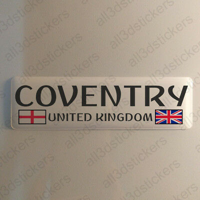"""Coventry England UK Sticker 4.70x1.18"""" Domed Resin 3D Flag Stickers Decal Vinyl"""