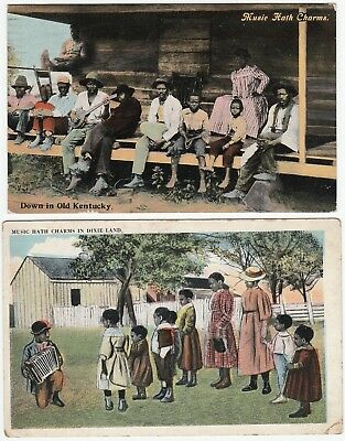 2 Old Postcards - Black African American - Music Hath Charms - Banjo Player 1910