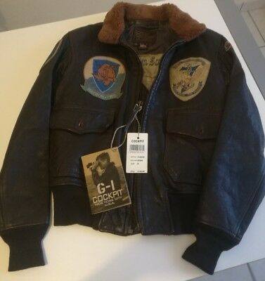 COCKPIT GIACCONE GIUBBINO model G-1 JACKET PELLE LEATHER NEW  SIZE 36