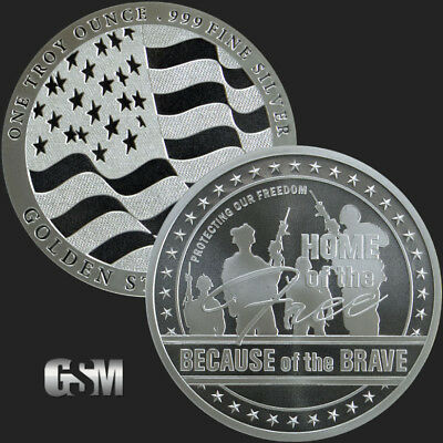 5 - 1 oz .999 Silver Rounds - Home of the Free - Brilliant Uncirculated
