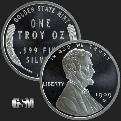 1 - 1 oz .999 Silver Round - Lincoln Wheat Cent - Brilliant Uncirculated