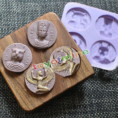 Pharaoh Egyptian Vintage Coin Silicone Fondant Mould Cake Decor Icing