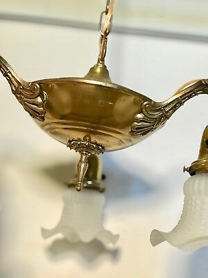 Antique, Brass, Victorian, 3 Fixture Chandelier (stock #104)