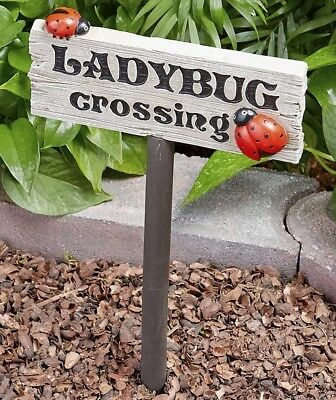 1 Ladybug Crossing Sign Stake Garden Flowerbed Yard Lawn Outdoor Home Decor