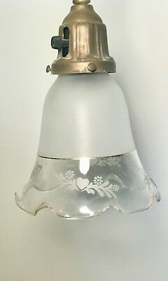 Antique, Ornate, Victorian, Brass, Hanging Light Fixture, Frosted Glass Shade