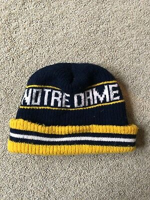 Vintage University Of Notre Dame Fighting Irish Winter Hat Cap 1980s Beenie Rare