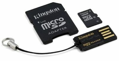 Kingston micro SD Card SDHC Memory 16GB Class 10 UHS-I with adapter and USB