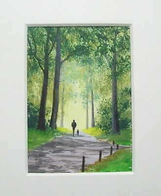 Original Early Morning Sunshine Landscape Miniature Aceo Painting