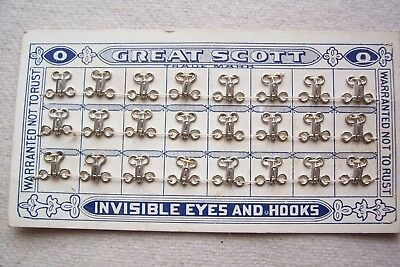 Card 24 Great Scott Hooks & Loops  4 Restoration Authentic Period Sewing Size 0
