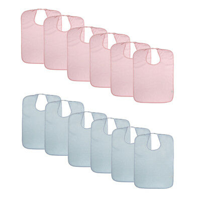 12pcs Washable Terry Towel Mealtime Cloth Bib Protector Apron for Adults