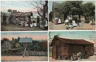 4 Old Postcards - Black African American - Southern Log Cabins 1912 Dixieland