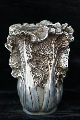 Collection Handwork Decor Miao Silver Carve Cabbage Bottle Beautiful Statue