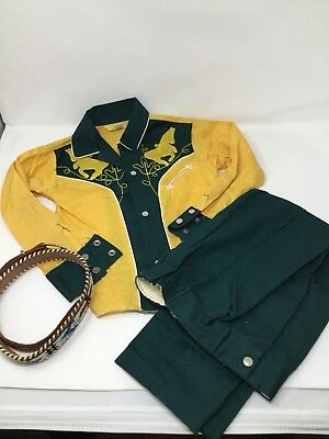 Vintage Child Cowboy Outfit Shirt/pants Sz 6 Belt With Beads