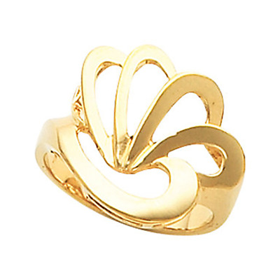 14k Yellow Gold Abstract Fan Shell Ring
