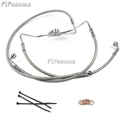 "Motorcycle Front +4"" Stainless Brake Line Kit For Harley Street Glide FLHX 08-13"