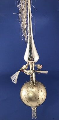 """TALL 20"""" Antique Glass Christmas Tree Topper w Birds Wire and Tinsel Germany"""
