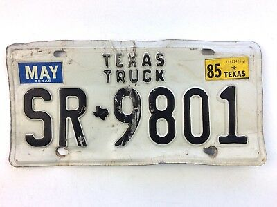 Texas 1985 Old License Plate Garage Vtg Truck Tag Man Cave Embossed State Map