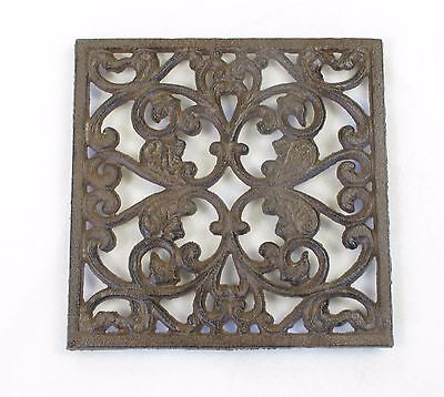 Solid Cast Iron Brown Trivet Scroll Design Square Shape Old English Kitchen Art