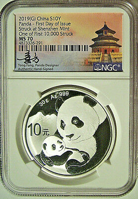 2019 China Panda 10Yn Silver NGC MS70 FDOI  |  Signed by Designer  |  RARE!